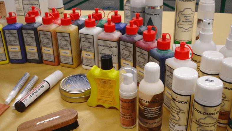 farby, narzędzia i inne środki do napraw skór