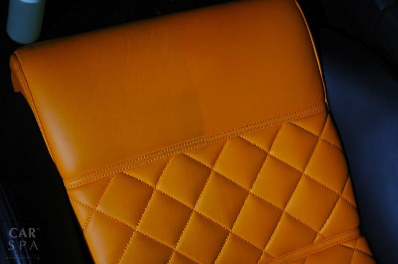 Prawa strona fotela skórzanego wyczyszczona